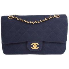 Chanel Vintage 2.55 Timeless Denim Double Flap Bag - blue