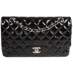 Chanel 2.55 Timeless Medium Double Flap Bag Patent Leather - black
