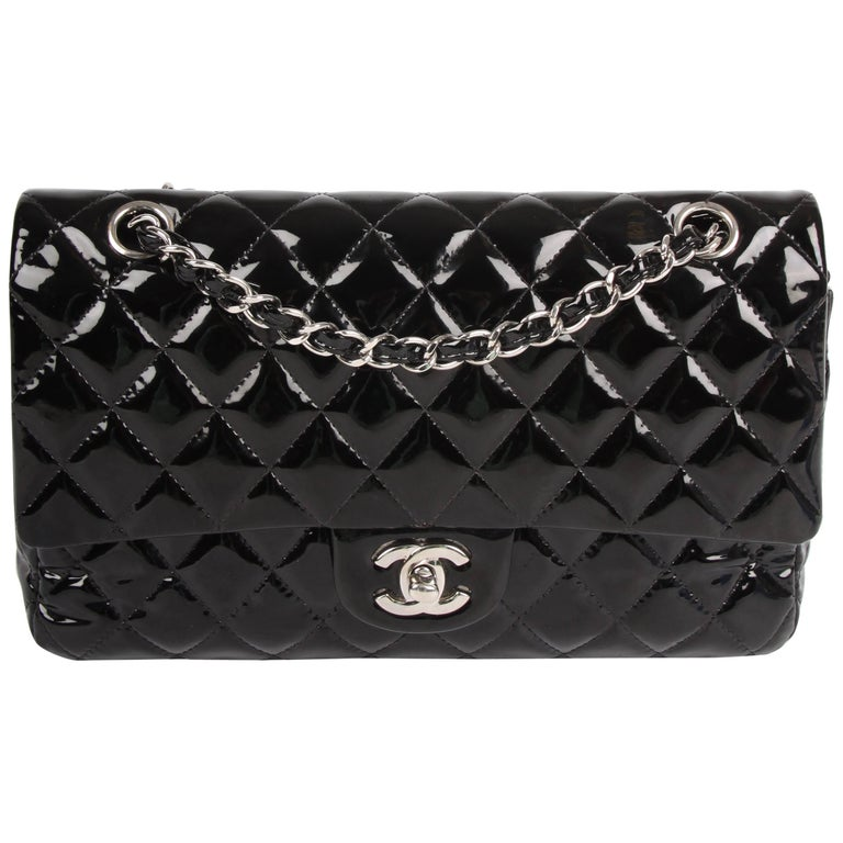 99c0354672bb Chanel 2.55 Timeless Medium Double Flap Bag Patent Leather - black For Sale