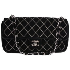 Chanel Classic Flap East West Chain Quilted Velvet Bag - black