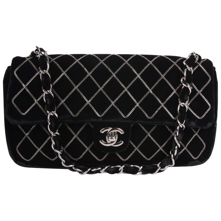 815d6ef7bef1 Chanel Classic Flap East West Chain Quilted Velvet Bag - black For Sale