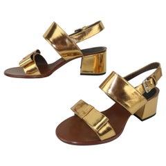Marni Gold Leather Bow Embellished Sandal Shoes