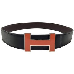 HERMES H Reversible Belt in Black Swift Leather and Brown Epsom Leather Size 80