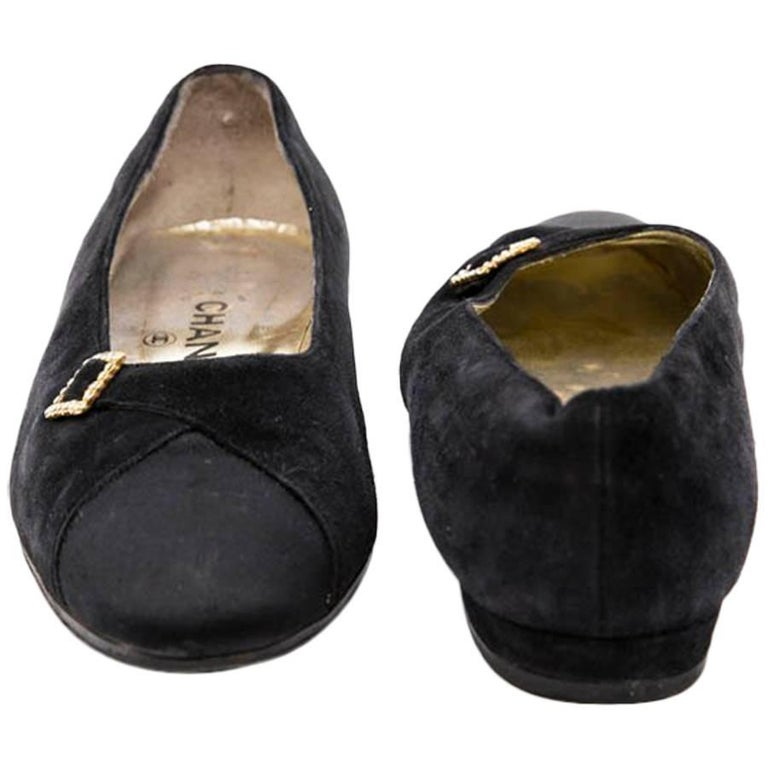 CHANEL Ballerina Shoes in Navy Blue Suede and Satin Size 39