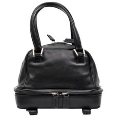 Mini LAGERFELD Bowling Bag in Black Leather