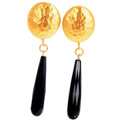 Black Onyx Vermeil (Gold Plated) Clip-on Earrings