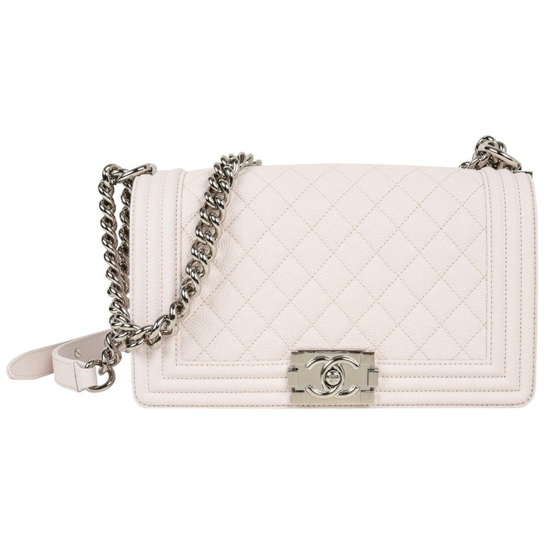 78592280b4299c Chanel Bag White / Nude Quilted Caviar Medium For Sale at 1stdibs