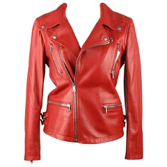 Gucci Red Leather Biker Jacket Size 38