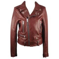 Saint Laurent Brown Leather Biker Jacket Size 36