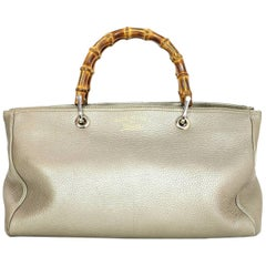 Gucci Golden Beige Calfskin Medium Bamboo Shopper Tote Bag with Strap