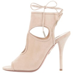 Aquazzura New Tan Beige Nude Cashmere Suede Cut Out Sandals Heels