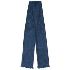Hermes Navy Blue Cashmere Silk 'H' Logo Men's Women's Suit Scarf