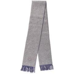 Hermes Reversible Gray Blue Cashmere Men's Women's Suit Scarf