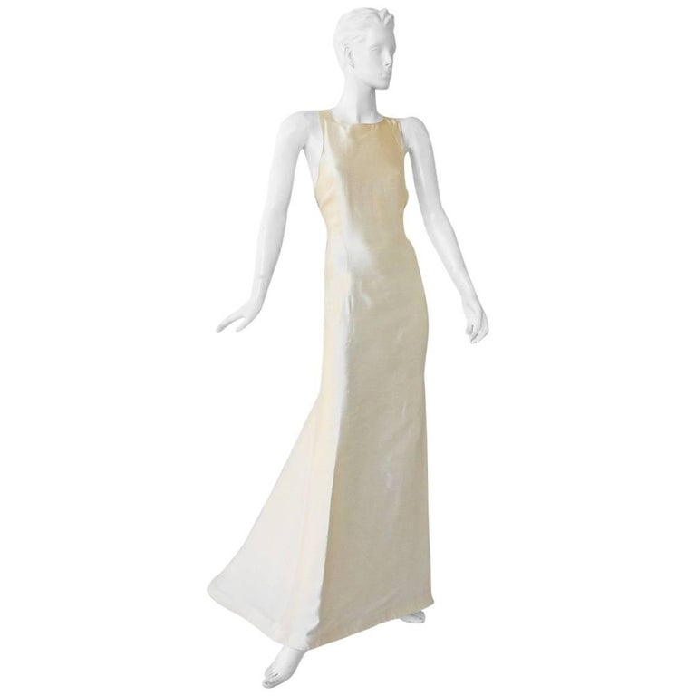 Valentino White Bondage Runway Finale Dress Gown with Jeweled Buckles and Train  For Sale