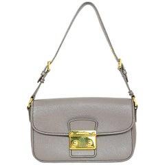 Miu Miu Grey Leather Pushlock Shoulder Bag