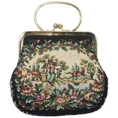 C.1960 Walborg Black Tapestry Handbag With Convertible Ring Handle