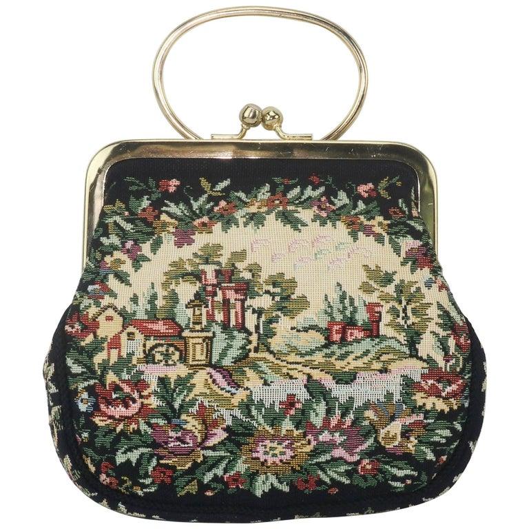 C.1960 Walborg Black Tapestry Handbag With Convertible Ring Handle