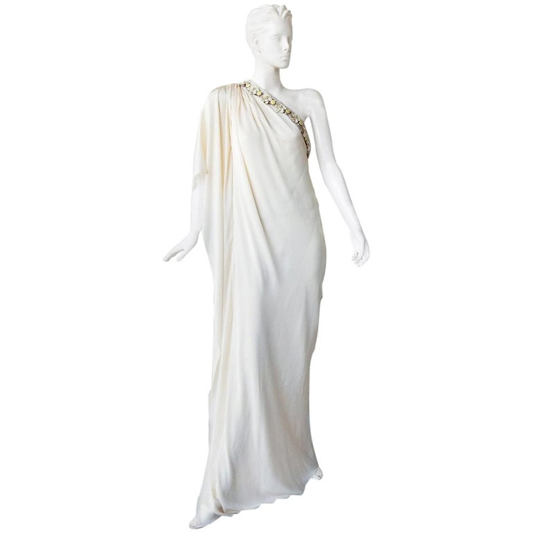 Lanvin White Grecian Drape One Shoulder Gown with Embellished Flower Neckline For Sale