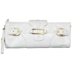Jimmy Choo White Python Snakeskin Tulita Clutch Bag