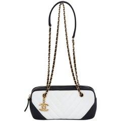 Chanel Black and White Chevron Crossbody Bag