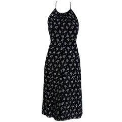 1977 Biba London Black & White Deco Dots Print Cotton Halter Backless Dress