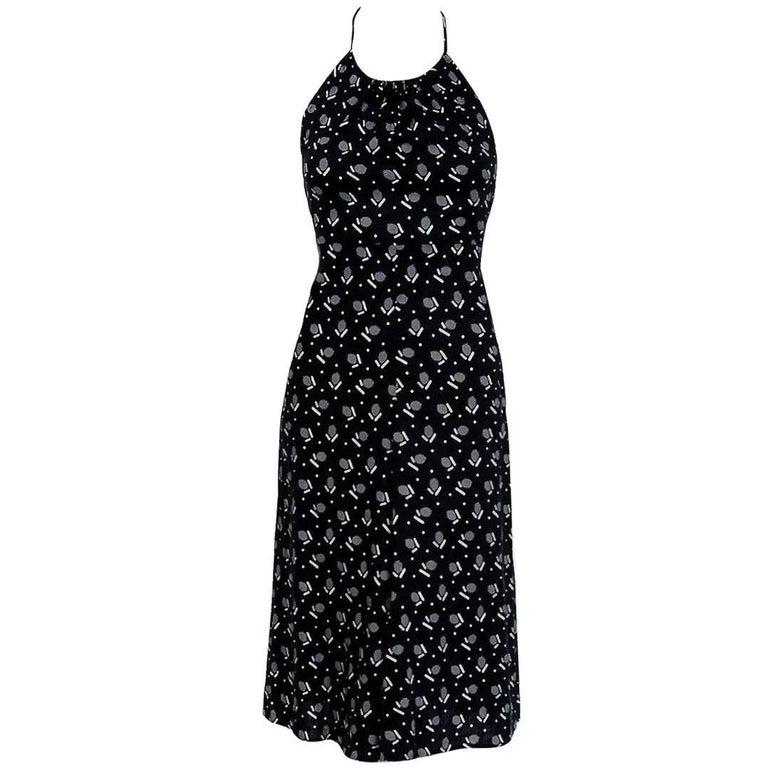 1977 Biba London Black And White Deco Dots Print Cotton Halter