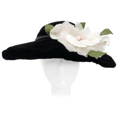 1950s Black Silk Velvet Picture Hat with White Silk Flower