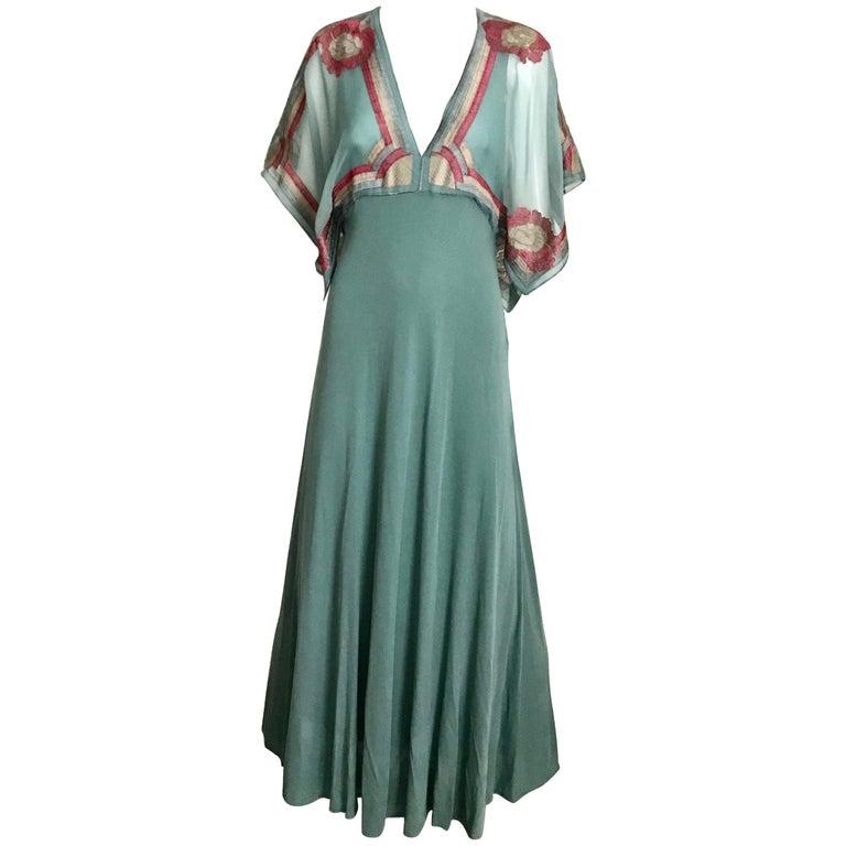 Janice Wainwright Green Jersey Dress, 1970s
