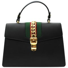 Sylvie Medium Black Leather top handle bag