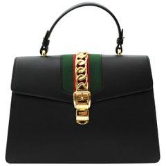 Sylvie Medium Black Leather top handle bag