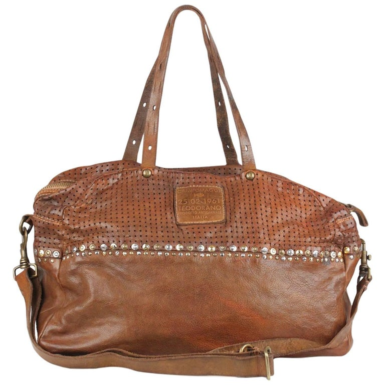 best authentic aliexpress latest discount Campomaggi Teodorano Brown Leather Boston Bag with Studs For ...