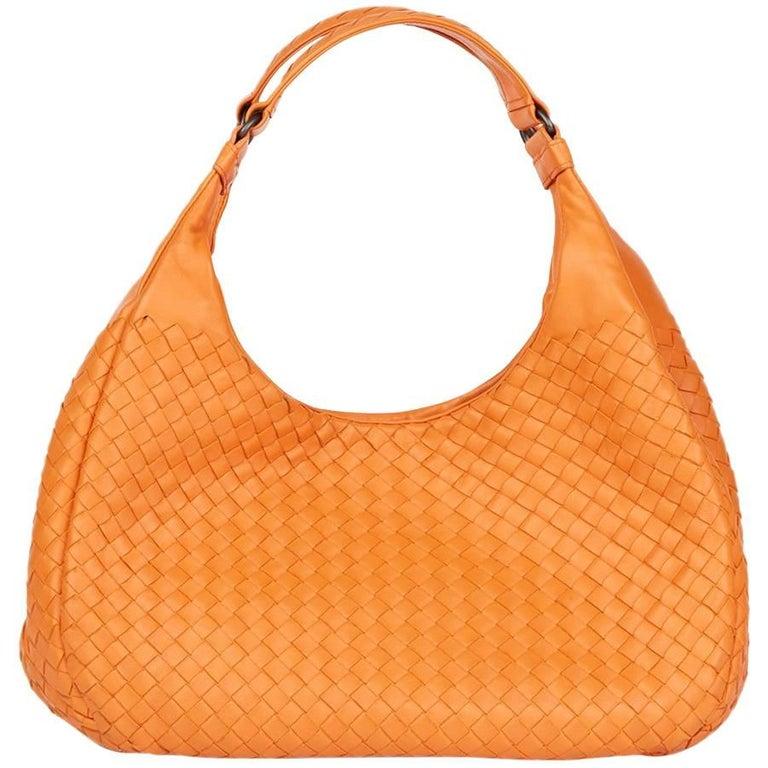 2015 Bottega Veneta Orange Woven Calfskin Medium Campana Bag