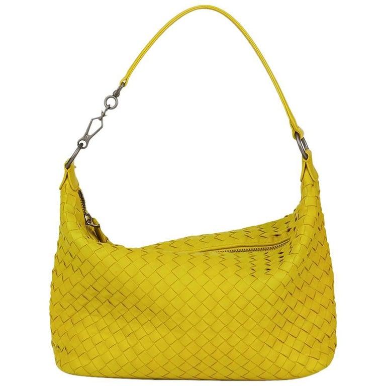 2010's Bottega Veneta Ancient Gold Woven Calfskin Leather Small Shoulder Bag