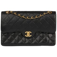 1986 Chanel Black Quilted Lambskin Vintage Medium Classic Double Flap Bag