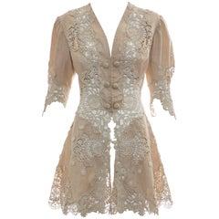Edwardian Cut Work Lace Linen Jacket, Circa 1905