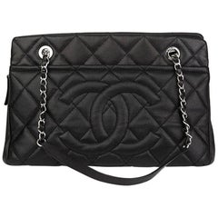 2015 Chanel Black Quilted Caviar Leather Timeless Shoulder Tote
