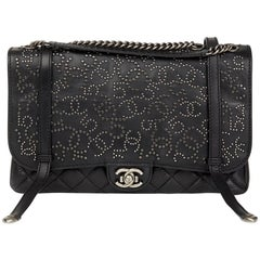 2014 Chanel Black Studded Calfskin Leather Paris-Dallas Studded Buckle Flap Bag