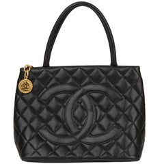 1997 Chanel Black Quilted Caviar Leather Vintage Medallion Tote