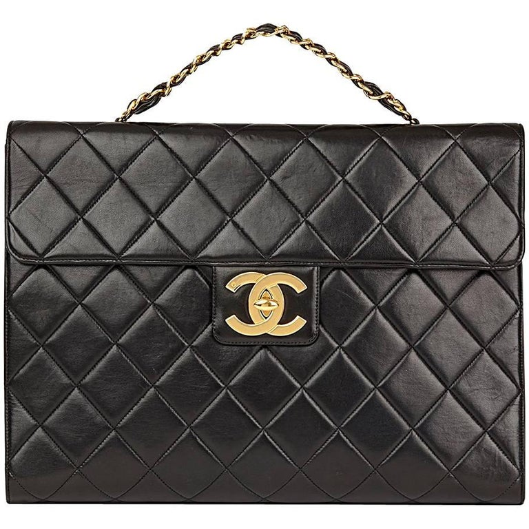1995 Chanel Black Quilted Lambskin Vintage Jumbo XL Classic Briefcase