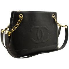 CHANEL Caviar Large Chain Shoulder Bag Black Leather Gold Zipper