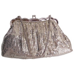 A Vintage 1930s Silver mesh metal evening bag by Whiting and Davis