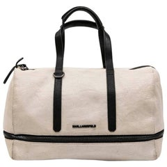 KARL LAGERFELD Bowling Bag in Beige Grained Leather-Like Canvas