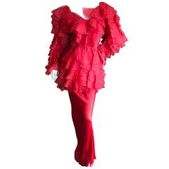 Cardinali 1970s Scarlet Red Ruffled Top and Bias Cut Silk Skirt with Fascinator