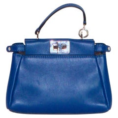 FENDI Micro Peekaboo Blue Nappa Leather