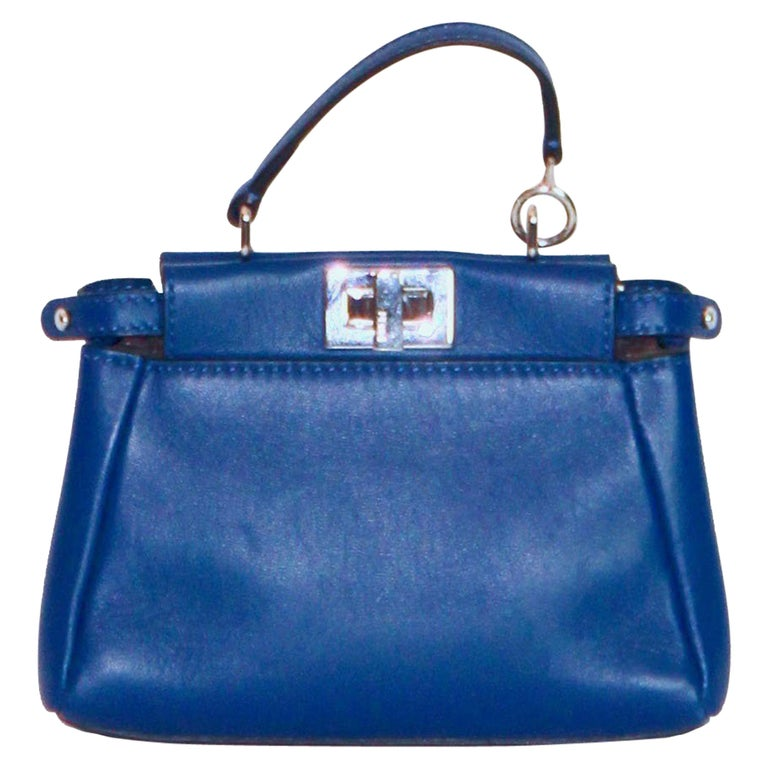 503403e2 FENDI Micro Peekaboo Blue Nappa Leather