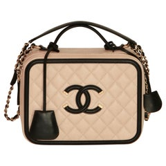 CHANEL CC Filigree Vanity Case Nude / Black Grained Leather