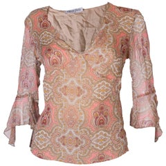 A Vintage Emilio Pucci Silk light summer Top with a paisley print