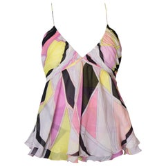 A Vintage Emilio Pucci Silk summer floaty Top with thin spaghetti straps