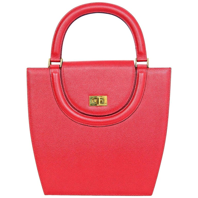 Bally Red Textured Leather Top Handle Structured Bag