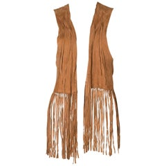 A 1970s Vintage brown Suede boho Fringed Waistcoat
